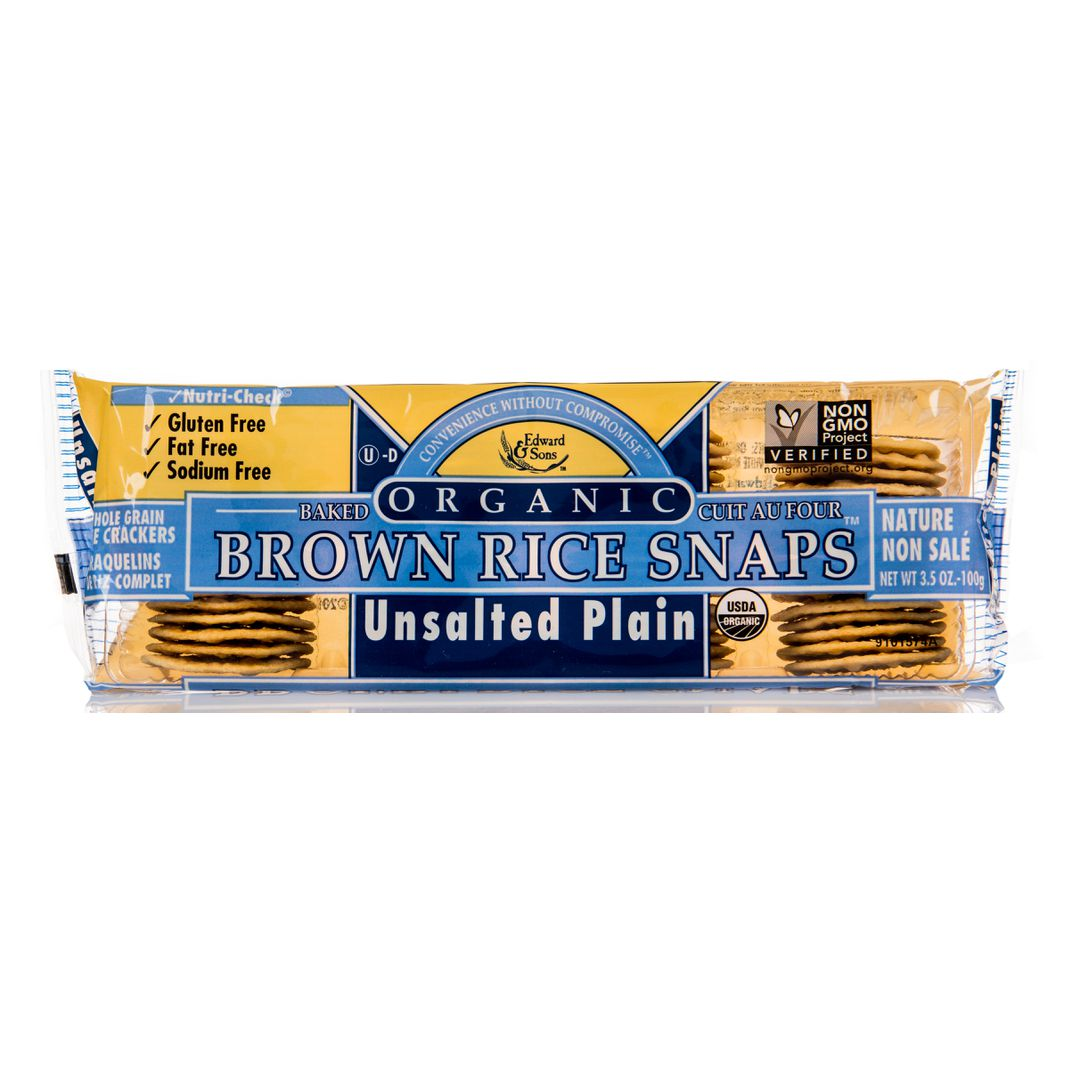 Edward & Sons - Crackers, Brown Rice Snaps, Plain, No Salt - Azure ...