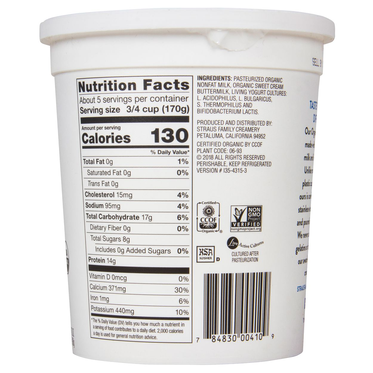 Straus Family Creamery - Greek Yogurt