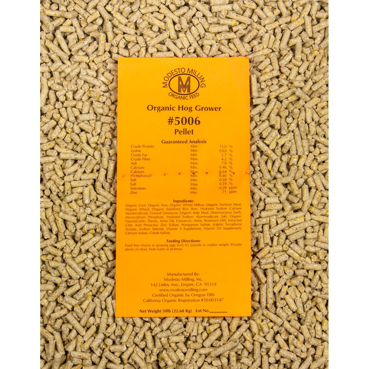 Hog Grower Pellets, Organic, 50 lb