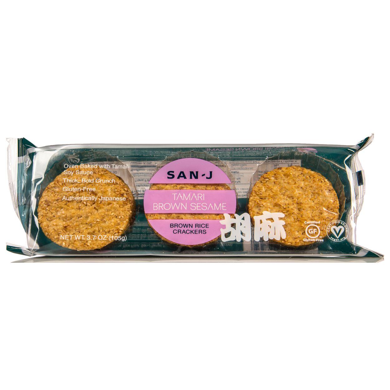 San J Tamari Brown Sesame, Brown Rice Crackers, GF Azure