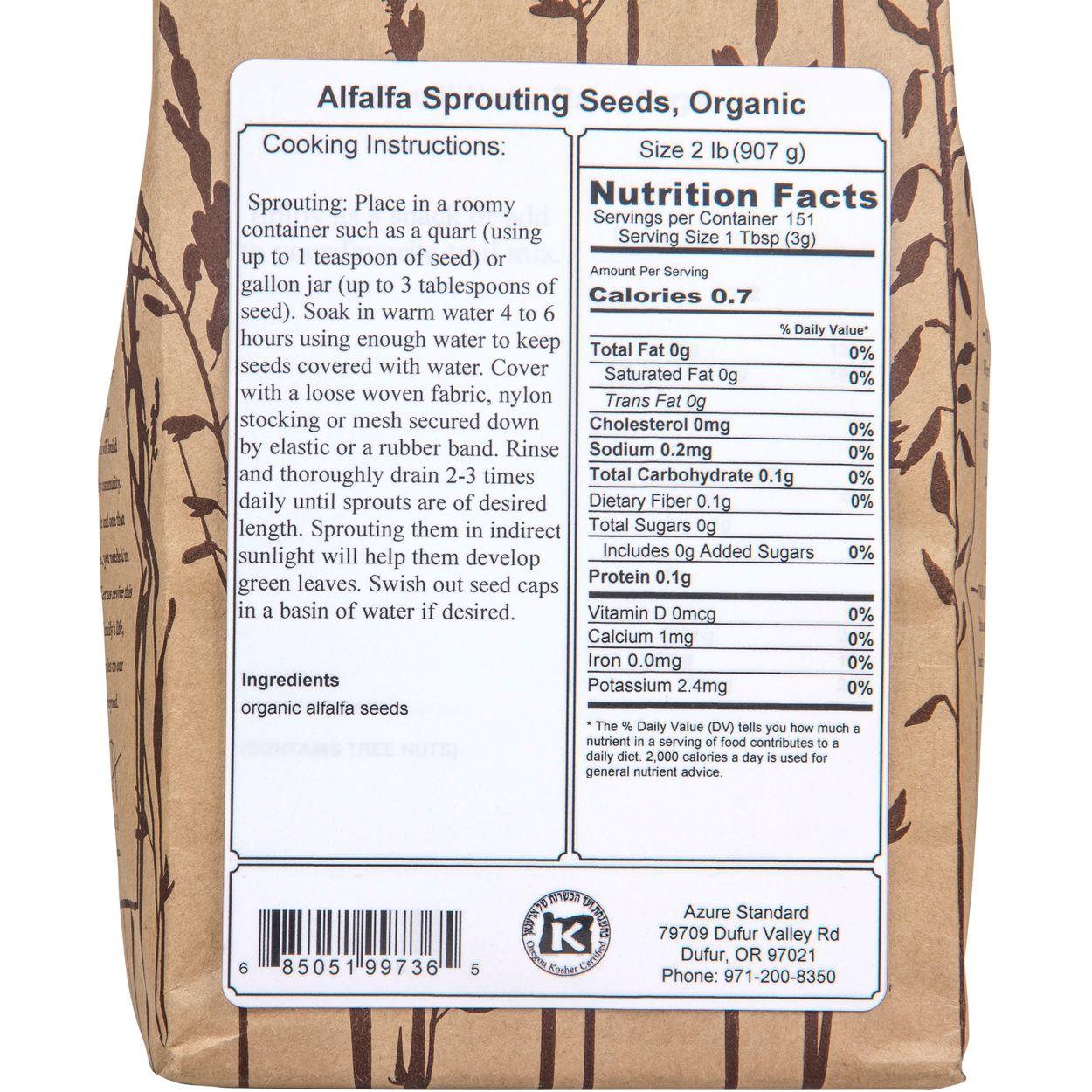 Alfalfa Sprouting Seeds, Organic