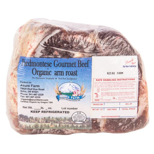 Azure Farm Piedmontese Arm Roast Grass Fed Frozen Organic